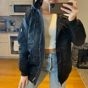 black obey oversized bomber jacket